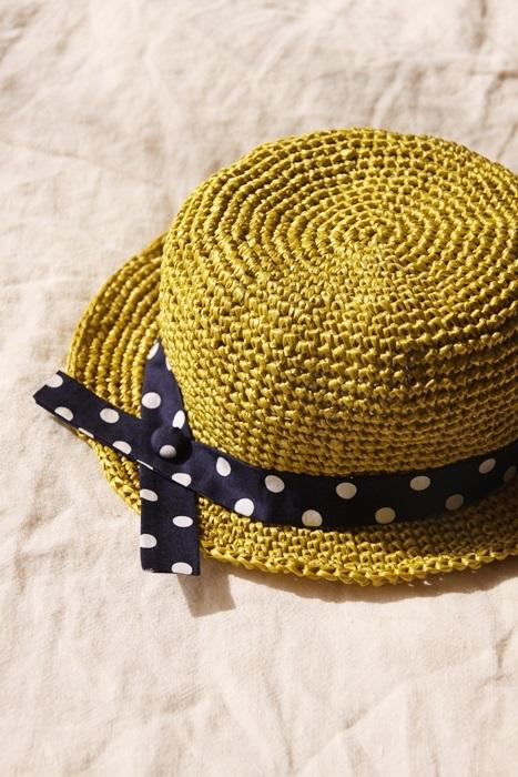 *naoさまご予約作品*なつのコドモ帽子 for Baby シトラスグリ−ン