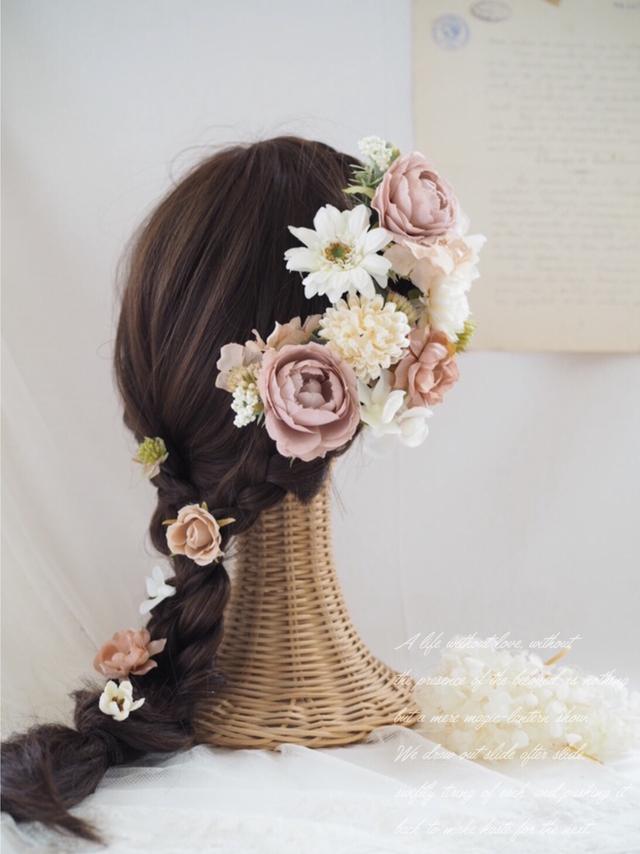 アンティークピンクローズのヘッドドレス