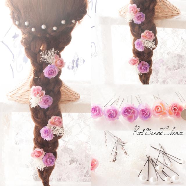 髪飾り~PurpleRoseの鮮やかヘッドドレス~紫薔薇の花飾り ...