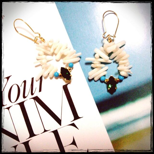 珊瑚とターコイズのsummer☆ピアス