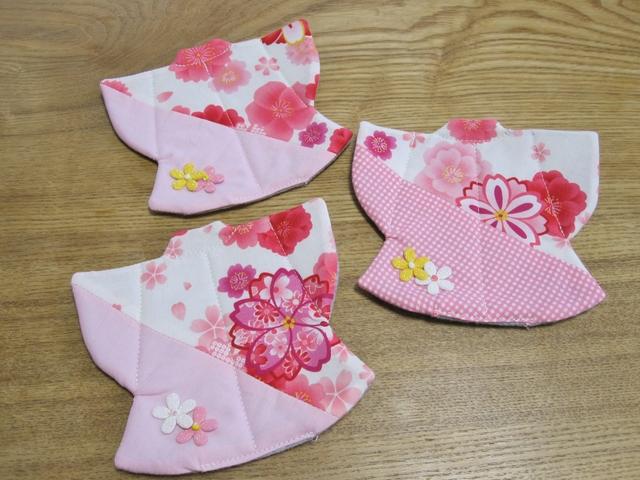 着物型 コースター ピンク 桜 3枚セ...