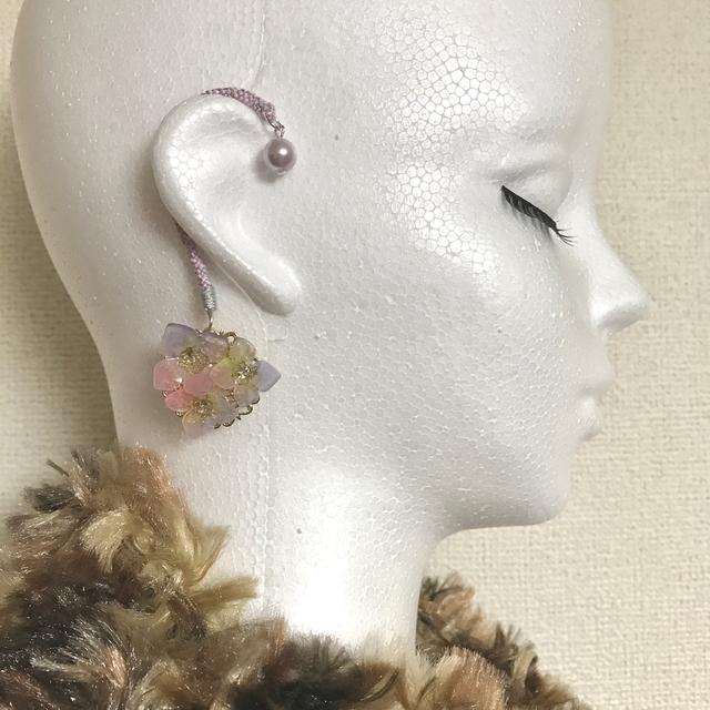 組紐イヤーフック×紫陽花