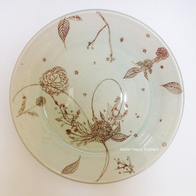 孔雀の大皿