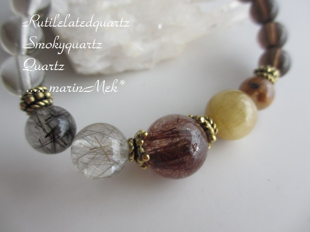 【晄月♪】ルチルクォーツ&水晶&スモ...