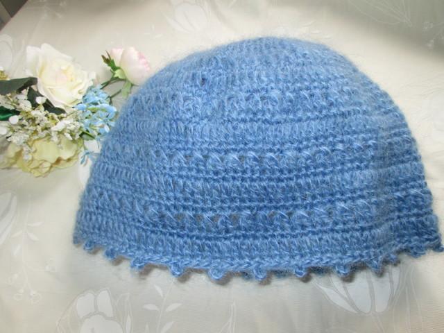 モヘアの青い帽子 キャップ