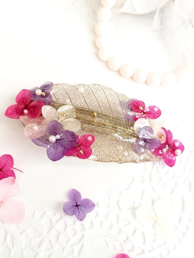 紫陽花とゴールドリーフのバレッタ☆ラ...