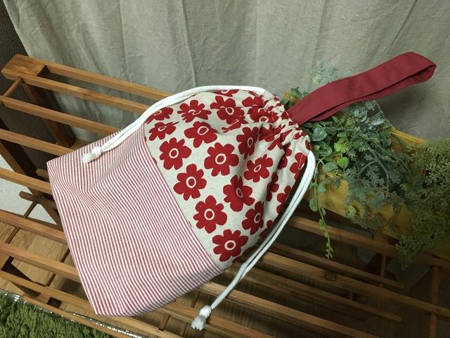 シューズ袋.赤花