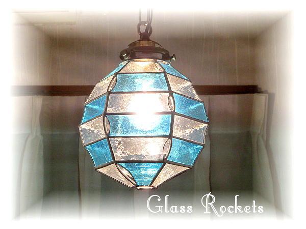 ステンドグラス 照明 ペンダント 「円灯」 スカイブルー ランプ(再販)