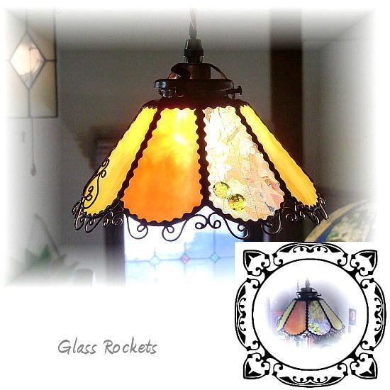 ステンドグラス 「キャンディーオレンジ」 ペンダント 照明 ライト ランプ(再販)