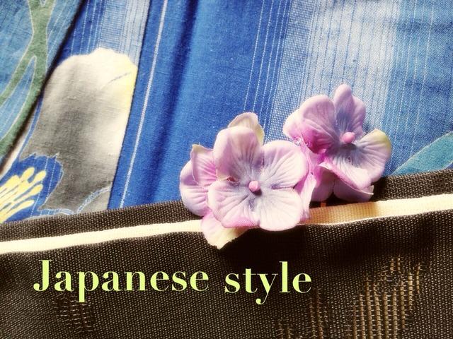 紫陽花のピン留め (帯飾りにも)