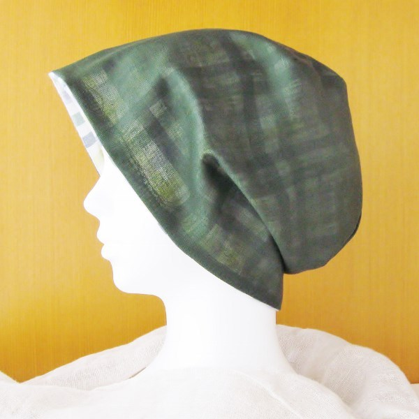 夏に涼しく下地にもなる ゆったりガーゼ帽子 深緑/ギンガムベジタブル(CGR-005-GV)
