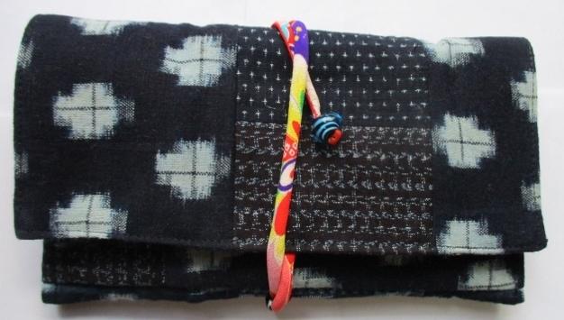 着物リメイク 絣で作った和風財布 1...