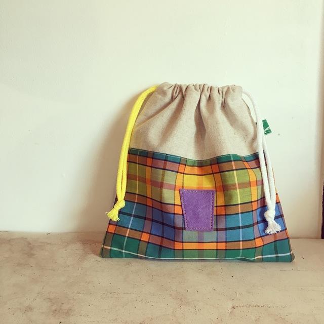 通園グッズ♪ チェックの巾着袋(BA-040)