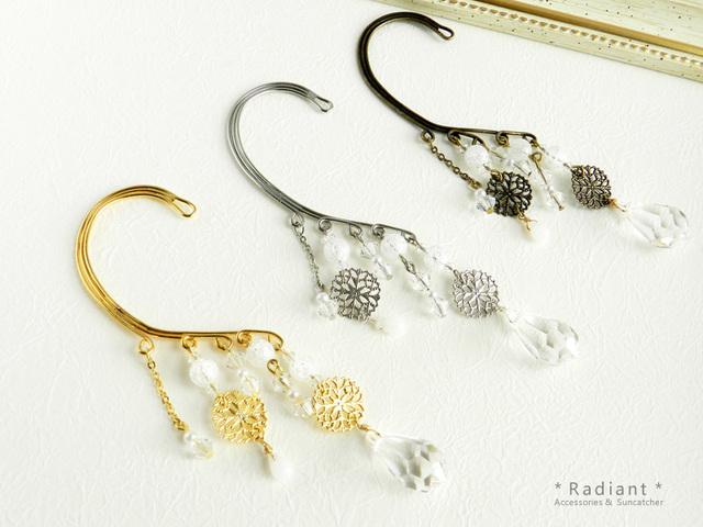 〜舞雪〜スワロと水晶のイヤーフック(3カラー)