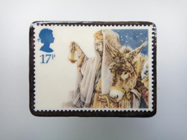 イギリス クリスマス切手ブローチ1893
