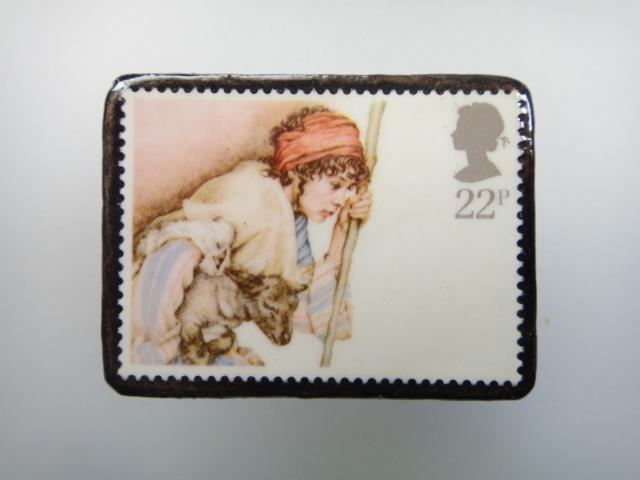 イギリス クリスマス切手ブローチ1894