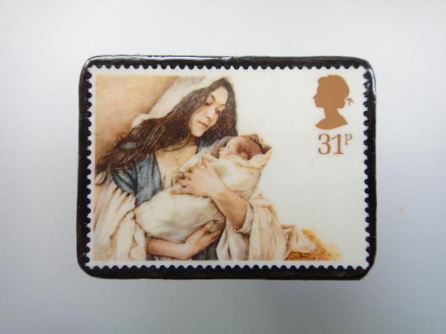 イギリス クリスマス切手ブローチ1895