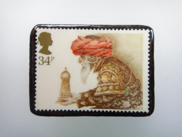 イギリス クリスマス切手ブローチ1896