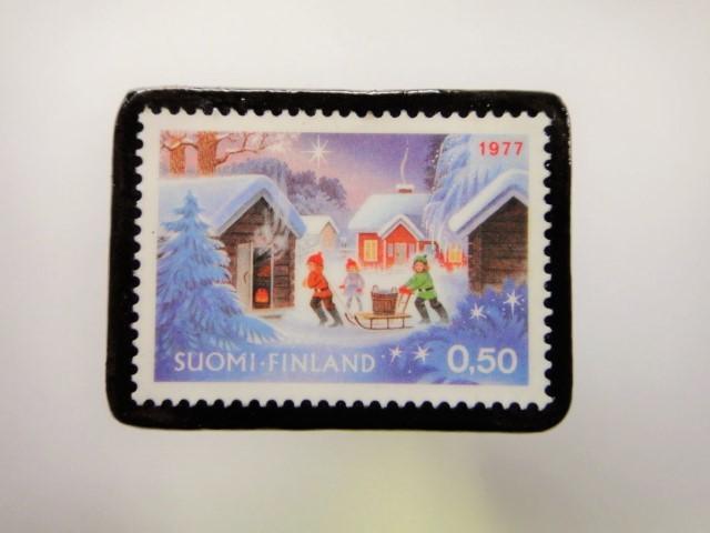 フィンランド クリスマス切手ブローチ1912
