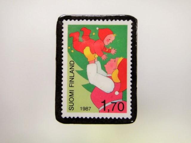 フィンランド クリスマス切手ブローチ1913