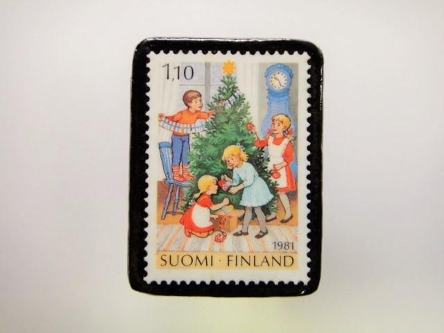 フィンランド クリスマス切手ブローチ1914