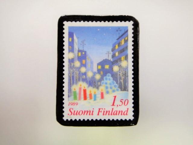 フィンランド クリスマス切手ブローチ1915