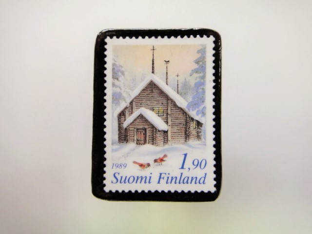 フィンランド クリスマス切手ブローチ1916