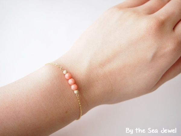 14kgf Pink Coral ブレスレット