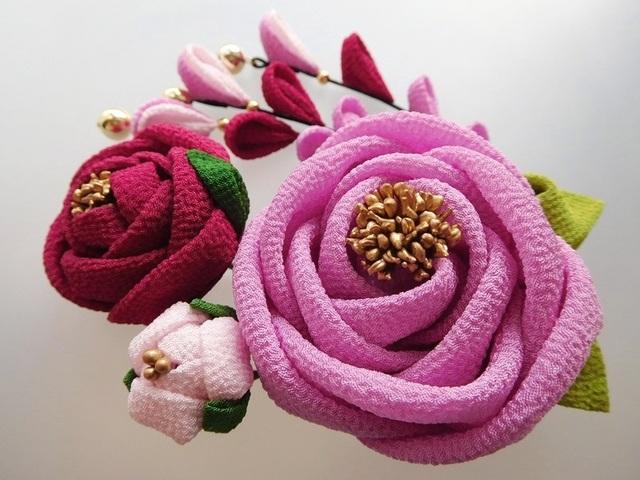 薄紫色 椿(6cm)の2wayクリップピン髪飾...