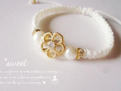 Vol.2 *white flower コードブレスレット