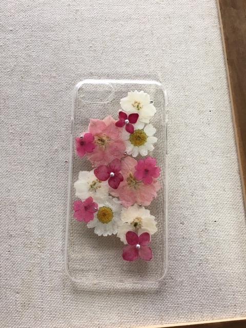 iphone7/6/6S  ピンク色押し花ケース
