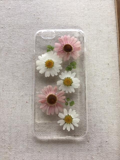 iphone6/6S マーガレット 押し花ケース