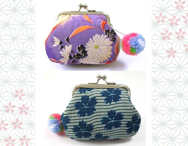 アンティーク着物がまぐち紫小菊