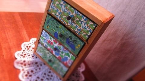 リバティ引き出し木製ミニキャビネットGreen系