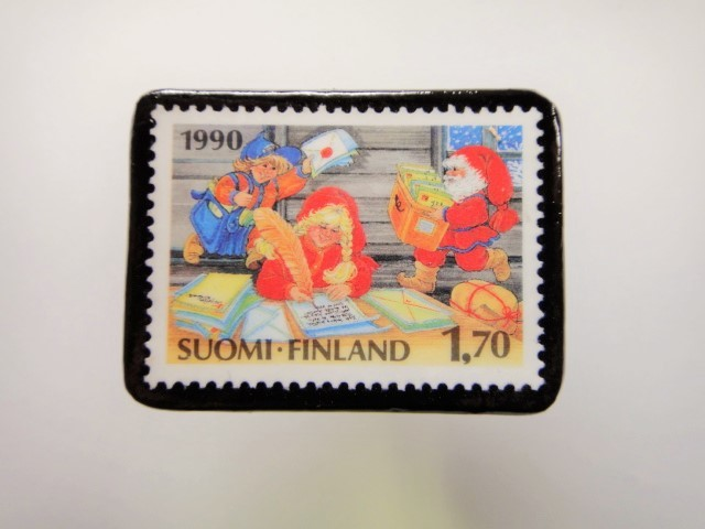 フィンランド クリスマス切手ブローチ1925