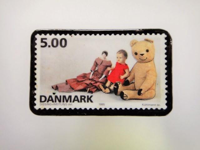 デンマーク クリスマス切手ブローチ1927