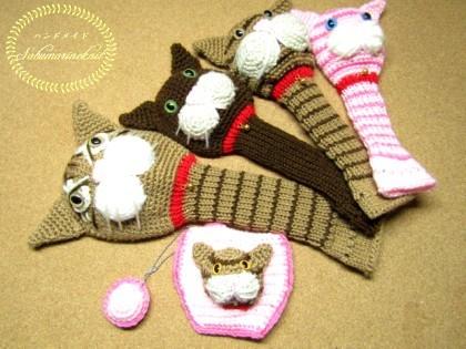 猫のあみぐるみヘッドカバー&パターカバー