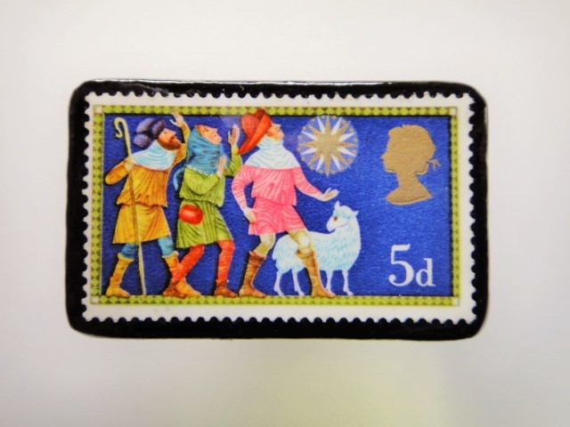 イギリス クリスマス切手ブローチ1929