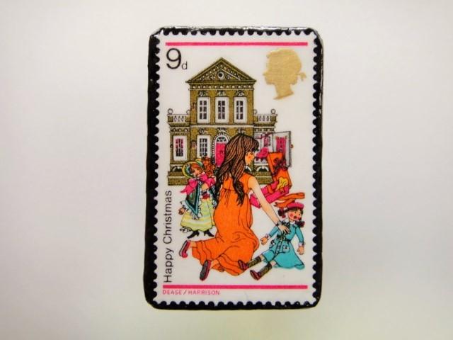 イギリス クリスマス切手ブローチ1934