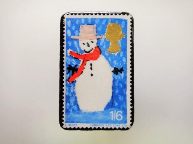 イギリス クリスマス切手ブローチ1935