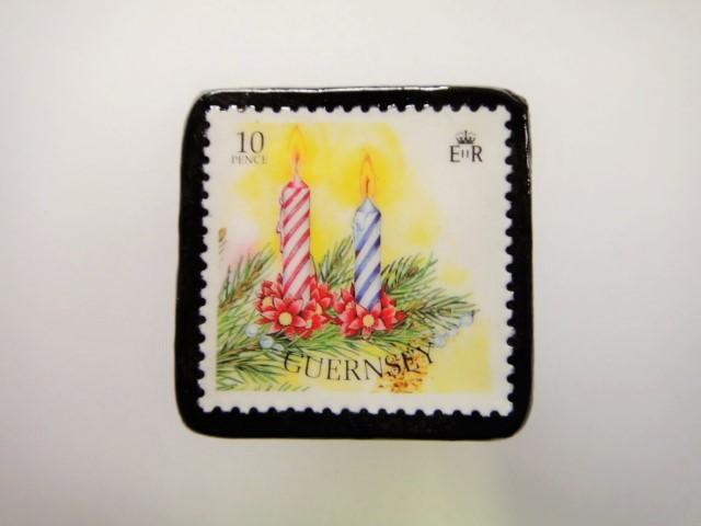 ガンジー クリスマス切手ブローチ1944