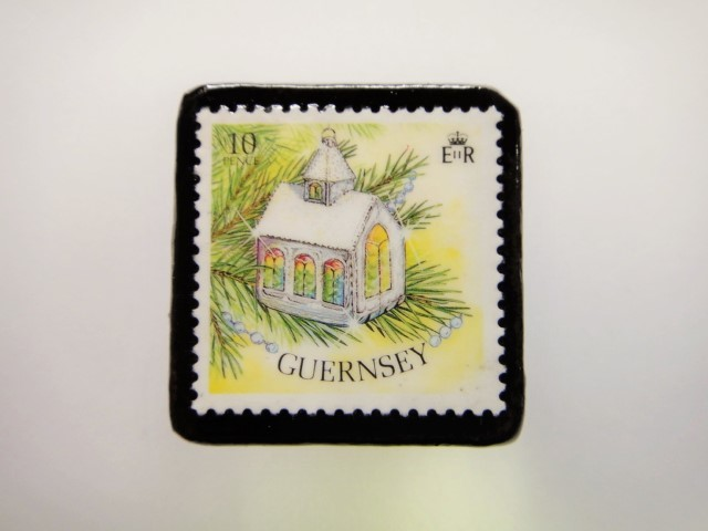 ガンジー クリスマス切手ブローチ1945