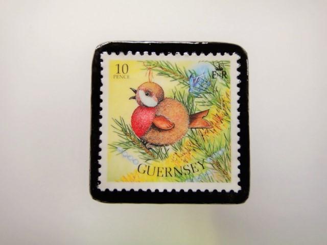 ガンジー クリスマス切手ブローチ1946