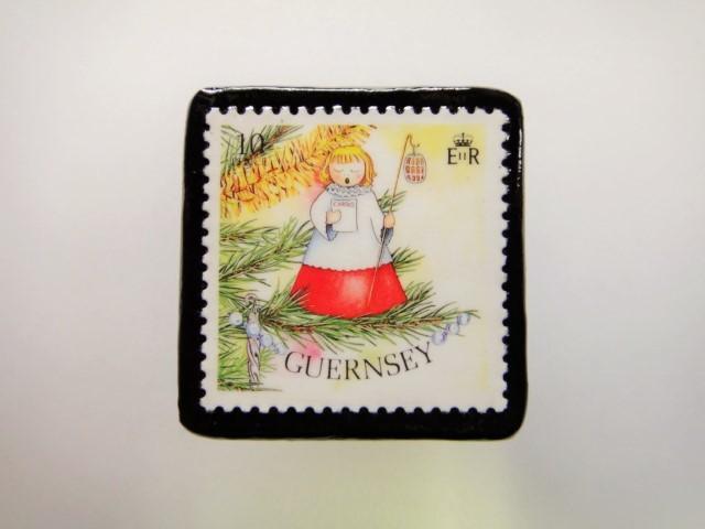 ガンジー クリスマス切手ブローチ1947
