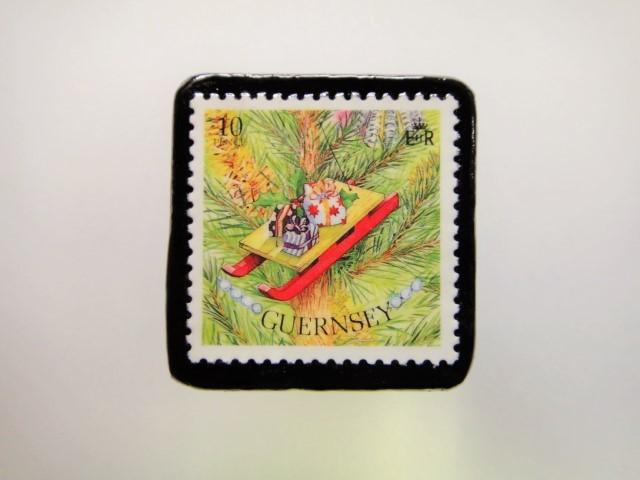 ガンジー クリスマス切手ブローチ1948