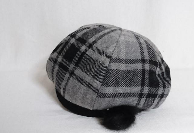 ウールチェックベレー帽 58