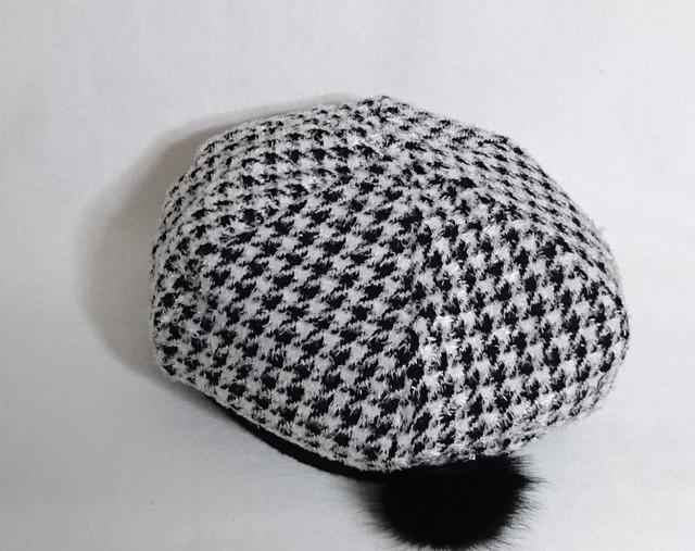 千鳥格子ニットベレー帽 58