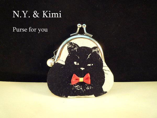 *ミニがま口!赤いリボンの黒ネコ がま...