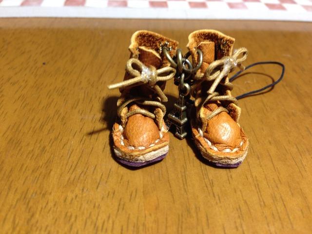ハンドメイド◎ミニチュア 編み上げブーツ ストラップ 革 レザー キャメル 19