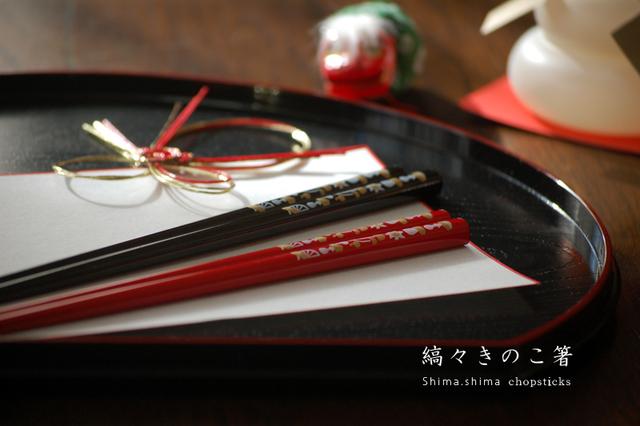 縞々きのこ箸《赤》21cm